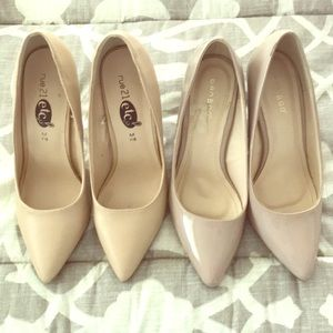 Taupe and tan pumps